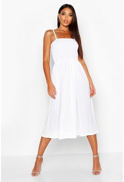 Womens White Tall Shirred Maxi Dress