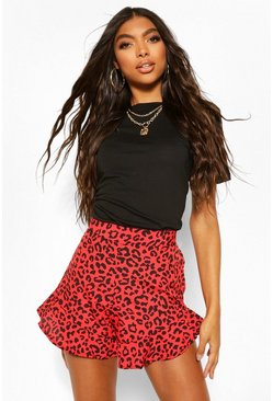 Red Tall Snake Skin Print Flippy Short
