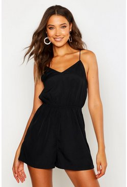 Womens Black Tall Strappy Plunge Playsuit