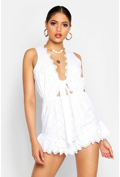 Womens White Tall Plunge Broderie Anglaise Playsuit