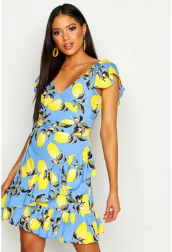 Womens Blue Tall Lemon Print Ruffle Shift Dress