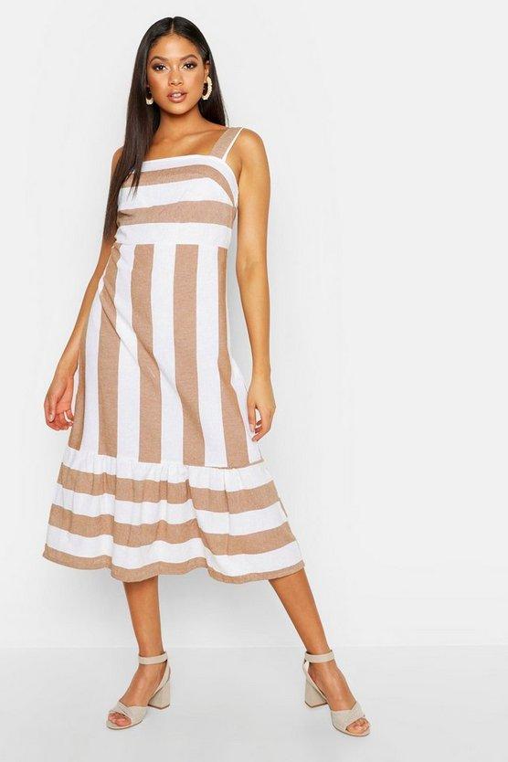 Tall Stripe Linen Dress Boohoo