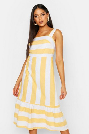 Womens Yellow Tall Stripe Linen Dress