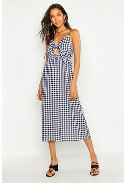 Womens Black Tall Tie Front Gingham Skater Dress