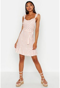 Womens Pink Tall Stripe Linen Sun Dress