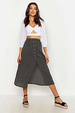 Tall Button Front Midi Skirt