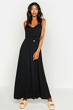 Tall Tie Back Button Front Midi Dress