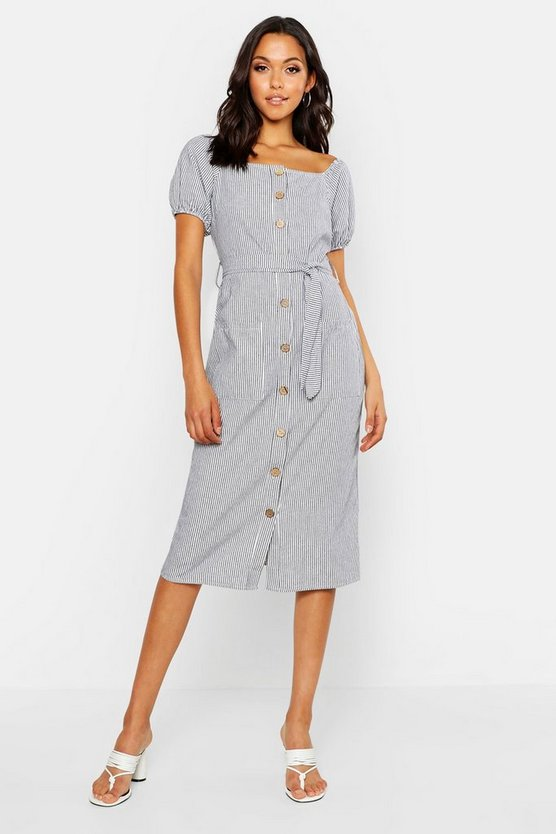 Womens Navy Tall Button Front Stripe Linen Midi Dress