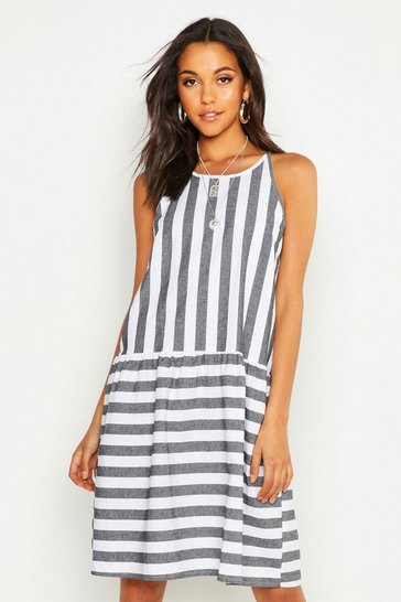 Womens Navy Tall Stripe Linen Smock Dress