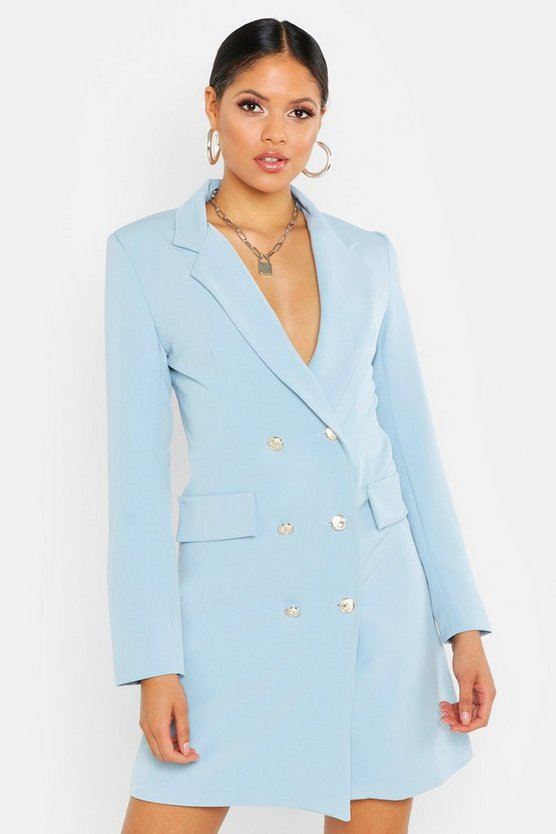 Womens Blue Tall Button Front Blazer Dress