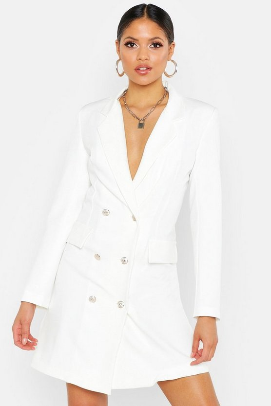 Womens White Tall Button Front Blazer Dress