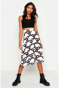 Womens White Tall Chain Print Midi Skirt