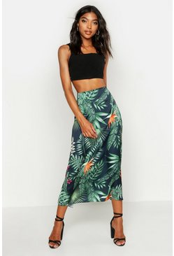 Womens Black Tall Tropical Print Midi Skirt