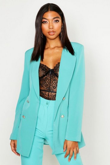Womens Teal Tall Button Detail Blazer