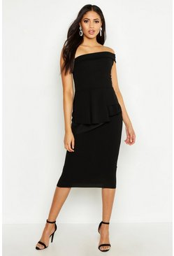 Womens Black Tall Bardot Waist Peplum Midi Dress