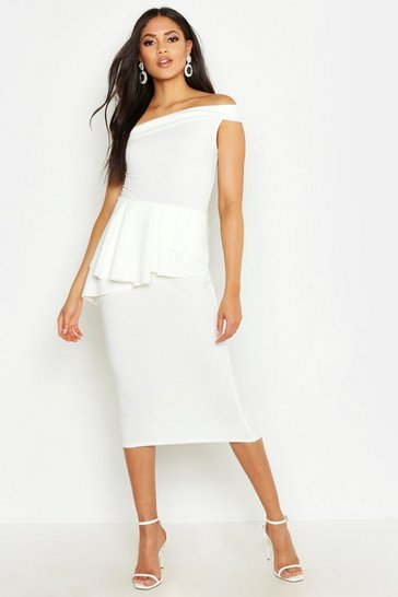 Womens Ivory Tall Bardot Waist Peplum Midi Dress