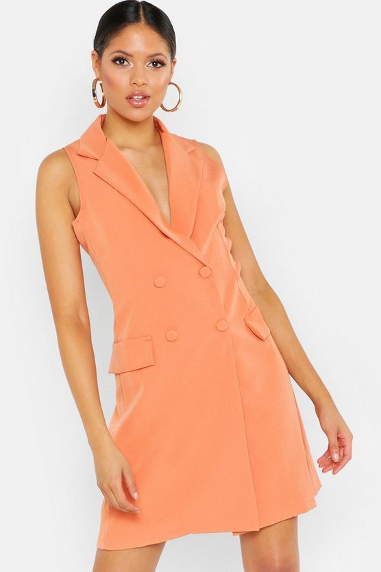 Womens Apricot Tall Sleeveless Blazer Dress