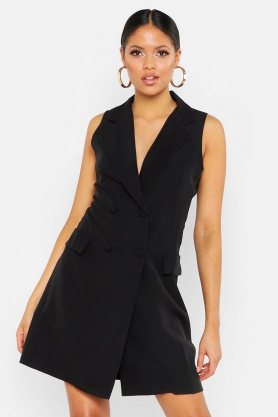 Womens Black Tall Sleeveless Blazer Dress