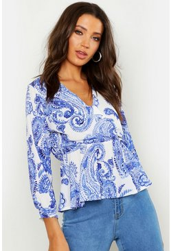 Womens Tall China Blue Wrap Peplum Top