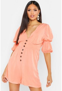 Womens Apricot Tall Puff Sleeve Button Front Playsuit