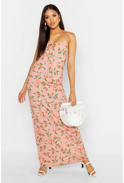 Womens Pink Tall Fruit Print Tie Detail Maxi Dress