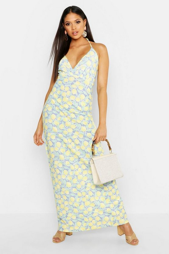Womens Cornflower Tall Lemon Plunge Tie Maxi Dress