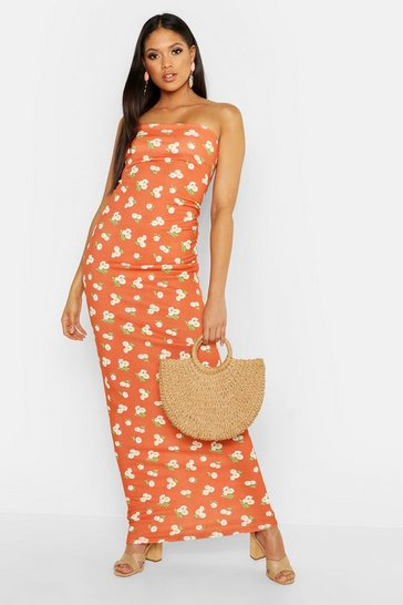 Womens Orange Tall Bandeau Large Scale Floral Maxi