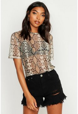 Womens Grey Tall Oversized Mesh Snake T-Shirt