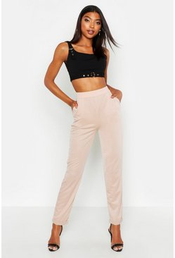 Womens Stone Tall Turn Up Cuff Tapered Trousers