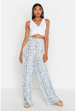 Womens Powder blue Tall Snake Print Wide Leg Trousers