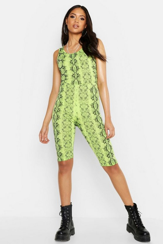 Womens Neon-lime Tall Neon Snake Print Unitard