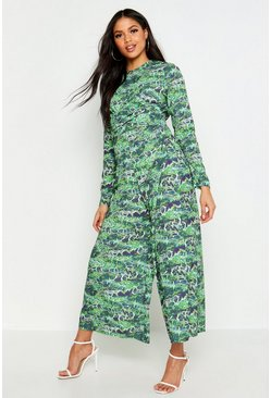 Green Tall Snake Print Twist Front Jumpsuit