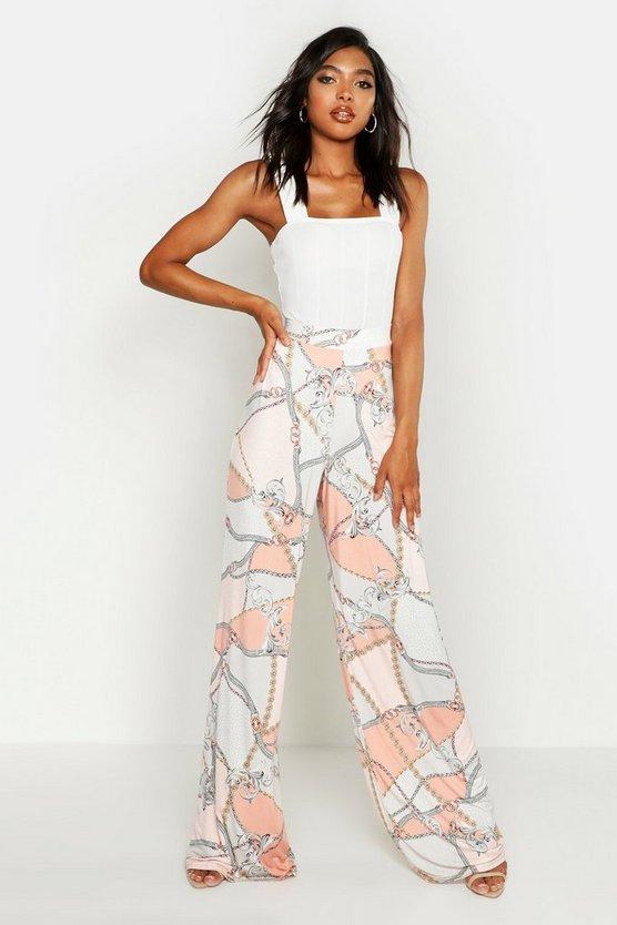 Tall Chain Print Wide Leg Trousers by Boohoo