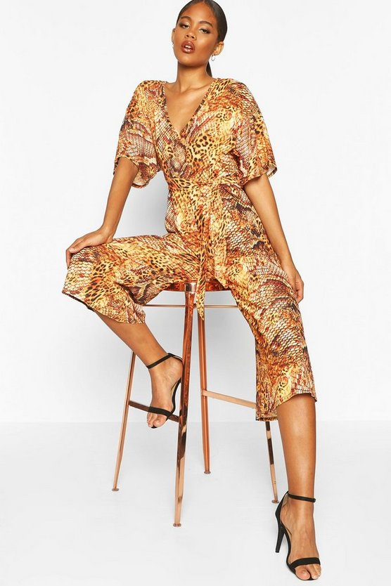 Orange Tall Leopard And Snake Print Jumpsuit