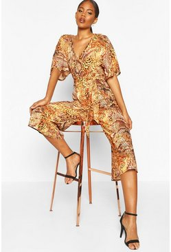 Womens Orange Tall Leopard And Snake Print Jumpsuit