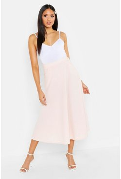 Womens Blush Tall Crepe Skater Midi Skirt