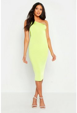 Womens Lime Tall One Shoulder Ruched Slinky Midi Dress