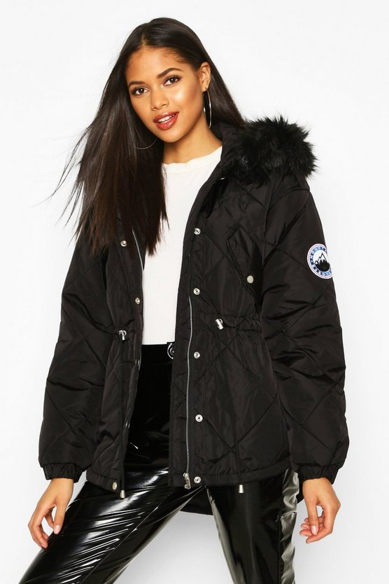 Womens Black Tall Faux Fur Trim Synch Waist Puffer