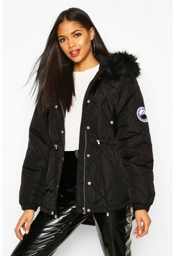 Black Tall Faux Fur Trim Synch Waist Puffer