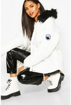 Womens White Tall Faux Fur Trim Synch Waist Puffer