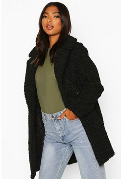 Womens Black Tall Double Breasted Teddy Faux Fur Coat