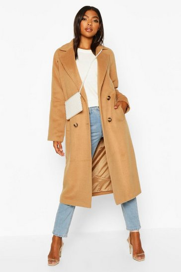 Womens Camel Tall Oversized Wool Look Coat
