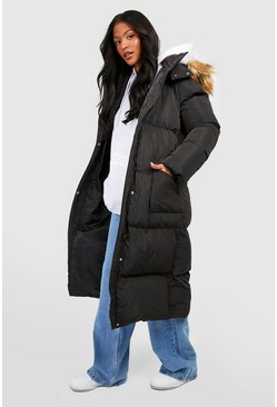 Womens Black Tall Faux Fur Hood Longline Padded Coat