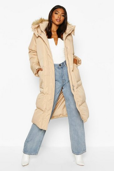 Womens Caramel Tall Faux Fur Hood Longline Padded Coat