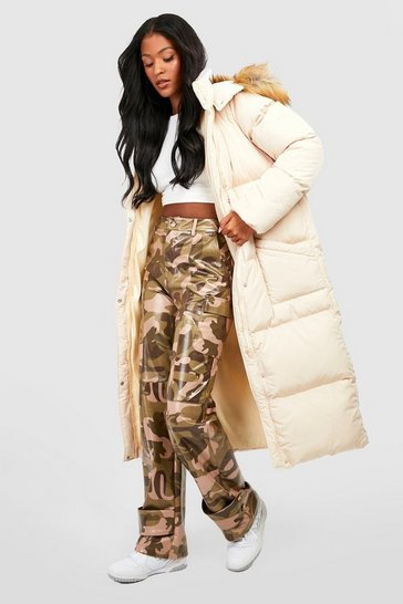 Caramel Tall Faux Fur Hood Longline Padded Coat