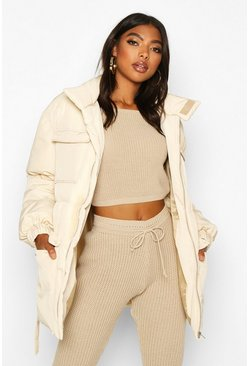 Womens Cream Tall Belted Padded Coat