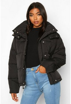 Womens Black Tall Drawstring Waist Padded Crop Jacket