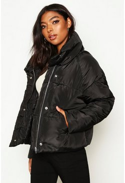 Womens Black Tall Crop Padded Funnel Neck Jacket