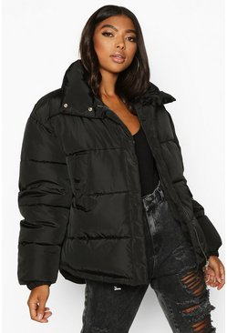 Dam Black Tall Padded Crop Jacket