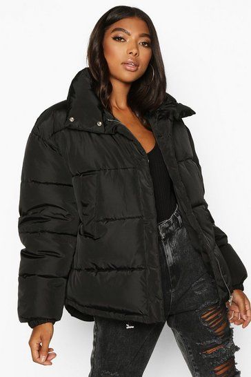 Womens Black Tall Padded Crop Jacket
